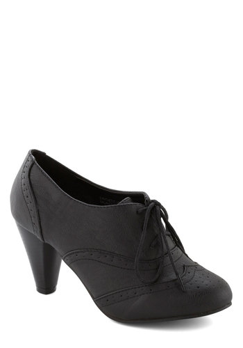 It's All Chic to Me Heel in Black - Black, Solid, Mid, Good, Lace Up, Faux Leather, Work, Vintage Inspired, 20s, 30s, Variation