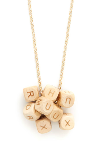 What's the Good Word-Find Necklace - Cream, Novelty Print, Better, Scholastic/Collegiate, Gold
