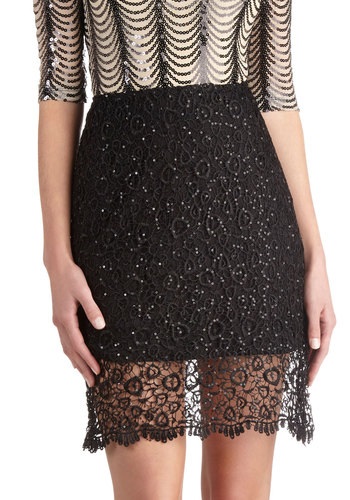 And the Winner Is Skirt - Black, Solid, Lace, Sequins, Holiday Party, Better, Sheer, Woven, Cocktail, Mini, Black, Mid-length