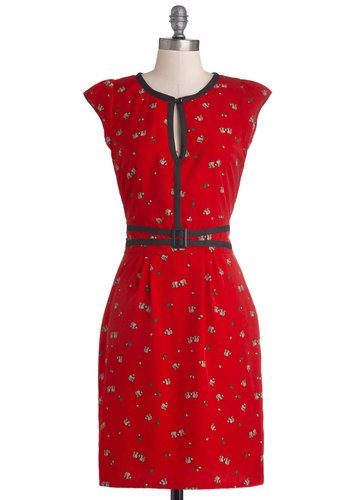 Nutty for You Dress by Trollied Dolly - Red, Black, Grey, Print with Animals, Trim, Casual, Vintage Inspired, Sheath / Shift, Cap Sleeves, Better, Scoop, International Designer, Woven, Mid-length