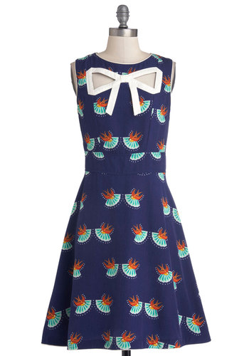 Peek-a-Bow Dress in Swallows by Trollied Dolly - Blue, Orange, Green, White, Print with Animals, Belted, Daytime Party, A-line, Sleeveless, Better, V Neck, International Designer, Mid-length, Woven, Critters