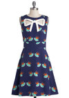 Peek-a-Bow Dress in Swallows by Trollied Dolly - Blue, Orange, Green, White, Print with Animals, Belted, Daytime Party, A-line, Sleeveless, Better, V Neck, International Designer, Mid-length, Woven