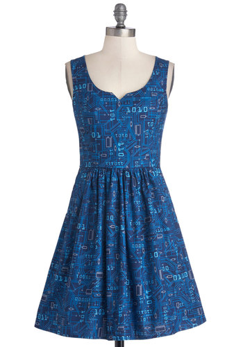 As Days Go Binary Dress - Mid-length, Cotton, Woven, Blue, Novelty Print, Pockets, Casual, A-line, Tank top (2 thick straps), Better, Nifty Nerd, Exclusives, Top Rated