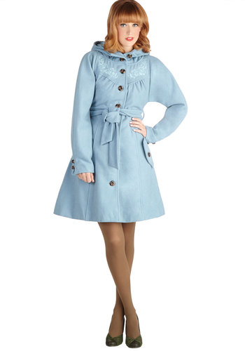 Roam is Where the Heart Is Coat by Blutsgeschwister - Long, 4, Blue, Solid, Pockets, Belted, Long Sleeve, Winter