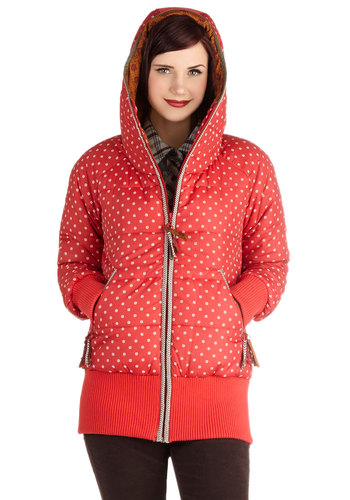 Chill Got It Jacket in Red by Blutsgeschwister - Mid-length, Pink, White, Print, Pockets, Casual, Long Sleeve, Winter, 4