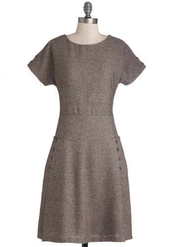 Polished Presentation Dress - Private Label, Mid-length, Woven, Grey, Solid, Casual, A-line, Short Sleeves, Better, Crew, Buttons, Pockets, Work, Exclusives