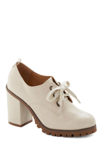 Mod-ly in Love Heel by Chelsea Crew - White, Solid, Lace Up, Chunky heel, Mid, Vintage Inspired, 60s, Mod, Better, Faux Leather