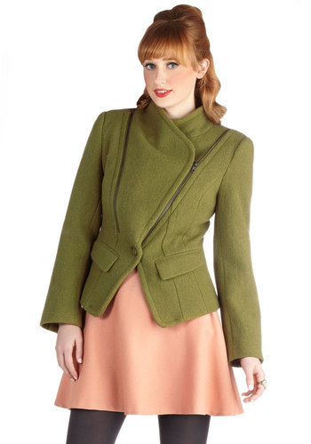Gallivant About Town Jacket by Pink Martini - Short, Woven, 3, Green, Solid, Pockets, Long Sleeve, Fall, Green