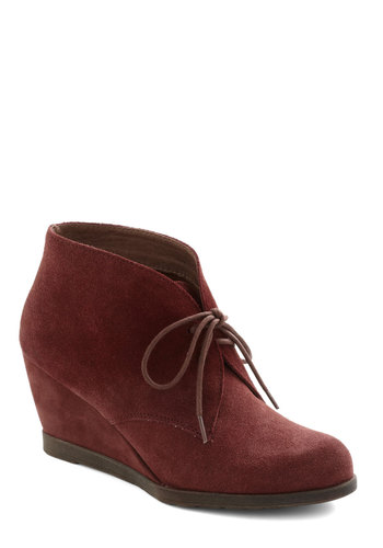 Awe My Loving Bootie by Chelsea Crew - Red, Solid, Mid, Wedge, Lace Up, Leather, Suede, Better, Menswear Inspired