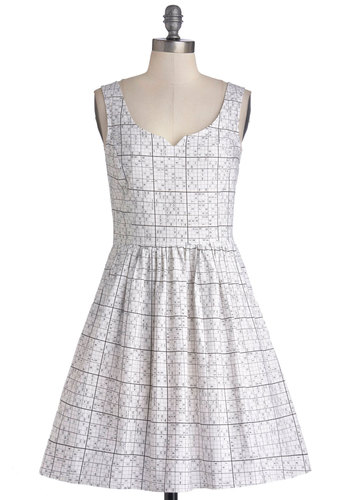 It Takes Sudoku Dress - Private Label, Mid-length, Cotton, Woven, White, Black, Novelty Print, Pockets, Casual, A-line, Tank top (2 thick straps), Better, Exclusives