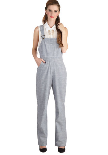 Turnstile Blog Overalls - Denim, Woven, Blue, Stripes, Pockets, Casual, Exclusives, 90s, Overalls, Mid-Rise, Full length, Blue, Non-Denim