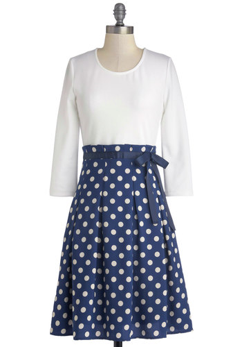 Cute to the Cordial Dress - Mid-length, Knit, Woven, Blue, White, Polka Dots, Belted, Casual, A-line, 3/4 Sleeve, Better, Scoop, Vintage Inspired, Exclusives, Winter