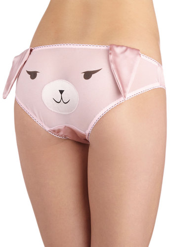 Hare by My Side Undies - Sheer, Satin, Pink, Print with Animals, Quirky