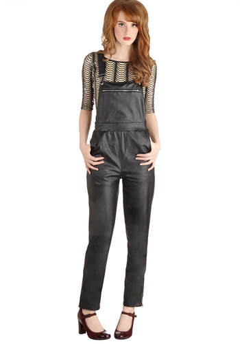 Art Scout Overalls - Faux Leather, Long, Black, Solid, Exposed zipper, Pockets, Urban, Overalls, Better, 90s