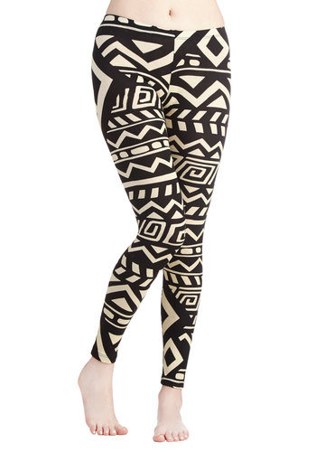 The Good Bold Days Leggings - Cotton, Knit, Black, Tan / Cream, Urban, Good, Novelty Print, White, 90s