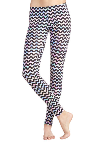 Lively in the Present Leggings - Cotton, Knit, Girls Night Out, 90s, Good, Chevron, Casual, Vintage Inspired, Skinny, Multi, Low-Rise, Full length, Multi