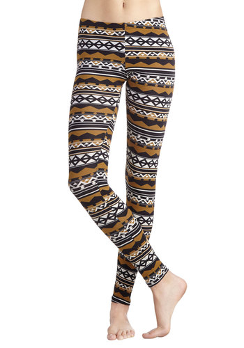 Alpine Express Leggings - Cotton, Knit, Brown, Rustic, Good, Print, Casual, Skinny, Folk Art, 90s, Low-Rise, Full length, Brown