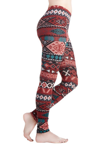 Ready for Thrills Leggings - Cotton, Knit, Novelty Print, Rustic, Good, Folk Art, Multi, Mid-Rise, Full length, Multi