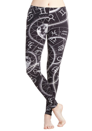 Sign Here Leggings - Cotton, Knit, Novelty Print, Cosmic, Better, Black, Casual, Skinny, Black/White, 80s