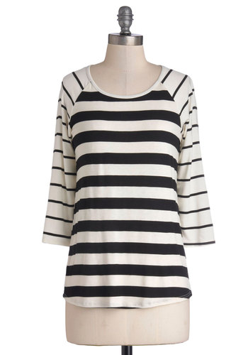 Doing Dandy Top in White - Jersey, Mid-length, White, Stripes, Casual, Good, Scoop, 3/4 Sleeve, Variation, White, 3/4 Sleeve