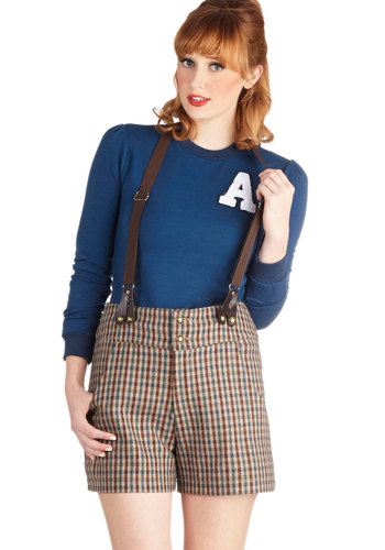 Firewood You Rather Shorts - Woven, Brown, Blue, Tan / Cream, Checkered / Gingham, Buttons, Pockets, Scholastic/Collegiate, High Waist, Better, Menswear Inspired