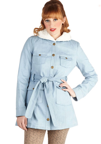 Casual Cozy Coat by Tulle Clothing - Blue, Solid, Buttons, Pockets, Long Sleeve, Denim, Cotton, Woven, 2, Belted, Casual, Fall, Long