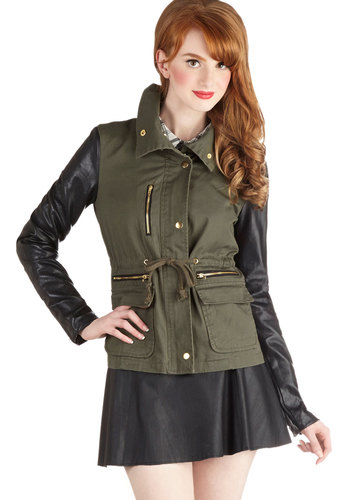 Sleeve an Impression Jacket - Green, Long Sleeve, Good, Short, Denim, Faux Leather, Woven, 1, Exposed zipper, Pockets, Casual, Military, Fall, Green
