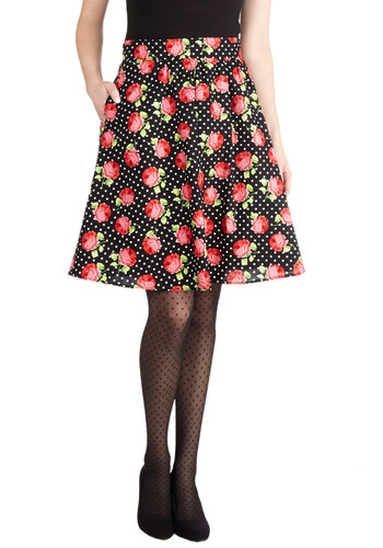 A Starlet's Saturday Skirt - Black, Polka Dots, Floral, Better, Mid-length, Cotton, Woven, Daytime Party, Ballerina / Tutu, Black