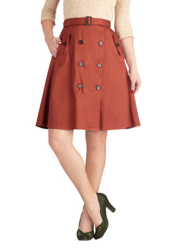 Authentic Allure Skirt - Orange, Solid, Buttons, Pockets, Belted, Casual, A-line, Good, Mid-length, Cotton, Woven, Orange