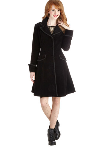 Way Back Ren Coat - Black, Solid, Buttons, Pockets, Trim, Steampunk, Long Sleeve, International Designer, Cotton, Long, 3, Black