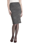 Quorum Principles Skirt by Jack by BB Dakota - Long, Knit, Grey, Black, Stripes, Work, Pencil, Grey