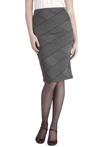 Quorum Principles Skirt by Jack by BB Dakota - Knit, Grey, Black, Stripes, Work, Pencil, Grey, Long