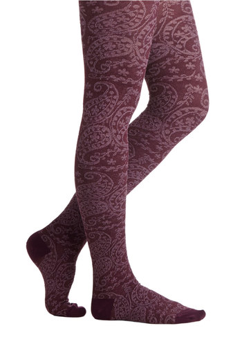 Maple Grove Tights in Wine - Red, Fall, Winter, Better, Knit, White, Paisley