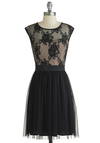 Fancy Dancer Dress - Woven, Black, Lace, Party, A-line, Good, Scoop, Sheer, Knit, Mid-length, Tan / Cream, Cap Sleeves, Exclusives