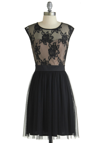 Fancy Dancer Dress - Black, Lace, Party, A-line, Good, Scoop, Sheer, Mid-length, Tan / Cream, Cap Sleeves, Exclusives, Tulle, Top Rated, Full-Size Run, Homecoming
