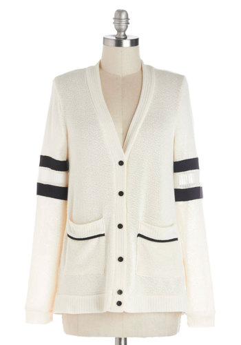 Varsity Fashion Cardigan - Mid-length, Sheer, Knit, White, Black, Buttons, Pockets, Casual, Scholastic/Collegiate, Long Sleeve, V Neck, White, Long Sleeve