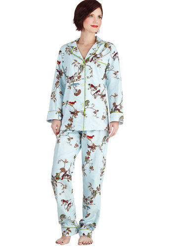 Girl of Great Glee Pajamas in Songbird - Blue, Multi, Print with Animals, Long Sleeve, Winter, Best, Cotton, Woven, Buttons, Pockets, Variation, Collared