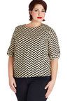 Zag in Action Top in Plus Size - Chevron, Work, 3/4 Sleeve, Better, Woven, Tan / Cream, Black, Casual, Gifts Sale