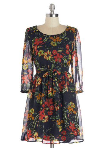 Belize It to Me Dress by Tulle Clothing - Woven, Sheer, Mid-length, Black, Multi, Floral, Pockets, Party, A-line, Long Sleeve, Better, International Designer, Scoop, Belted