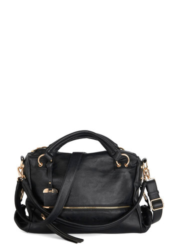 Yours Newly Bag by Melie Bianco - Faux Leather, Black, Solid, Exposed zipper