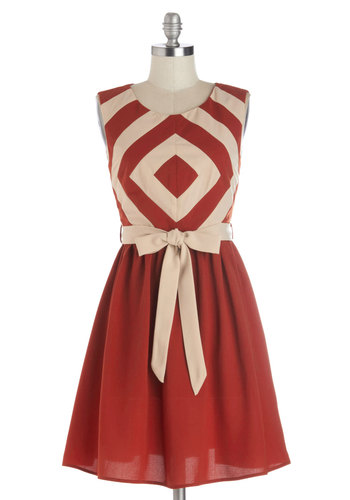 Foremost Finesse Dress - Woven, Mid-length, Red, Tan / Cream, Belted, Casual, A-line, Sleeveless, Good, Scoop, Stripes