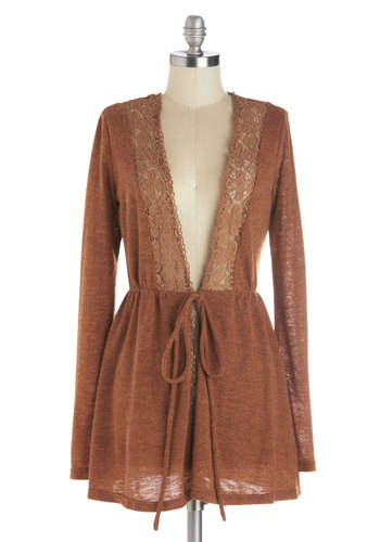 Cabana Pancakes Cardigan - Brown, Solid, Crochet, Boho, 70s, Long Sleeve, Better, Casual, Vintage Inspired, Sheer, Brown, Long Sleeve