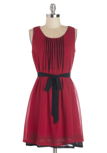 Do Re Meeting Dress in Red - Mid-length, Chiffon, Woven, Red, Black, Pleats, Belted, Party, A-line, Tank top (2 thick straps), Good, Scoop