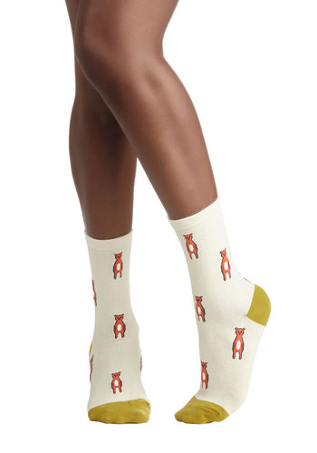 Teddy, Set, Go Socks by Hansel from Basel - Cream, Multi, Print with Animals, Casual, Knit, Orange, Green, Quirky