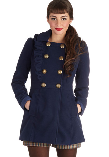 Stately Supper Coat in Blue - Long, 2, Blue, Solid, Buttons, Pockets, Ruffles, Military, Double Breasted, Long Sleeve, Fall, Blue