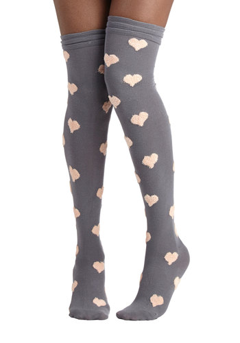 Betsey Johnson Warm, Fuzzy Feelings Socks in Grey by Betsey Johnson - Grey, Tan / Cream, Better, Variation, Knit, Novelty Print, Valentine's