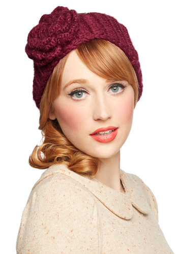 Autumn Garden Ear Warmer in Berry by Wooden Ships - Knit, Red, Solid, Flower, Fall, Winter, Better, Variation, Knitted, Holiday