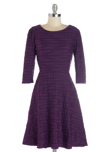 Elegant Undulance Dress in Aubergine - Purple, Solid, Party, Work, A-line, 3/4 Sleeve, Variation, Crew, Jersey, Knit, Mid-length