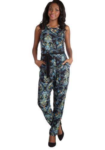 Erin's Love Out Loud Jumpsuit - Long, Woven, Blue, Paisley, Cutout, Pockets, Belted, 70s, Jumper, Tank top (2 thick straps), Better, Crew, Boho, Vintage Inspired, Daytime Party, Full length, Blue, Non-Denim, Jumpsuit