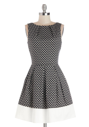 Shoreline Soiree Dress in Hearts by Closet - Mid-length, Cotton, Woven, Black, White, Pleats, Party, A-line, Sleeveless, Better, Novelty Print, Exposed zipper, Belted, Variation, Boat, Gifts Sale, Valentine's, Top Rated